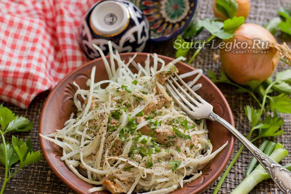 """Рецепты вкусных салатов. просто салат из редьки с мясом """"узбекистан"""""""