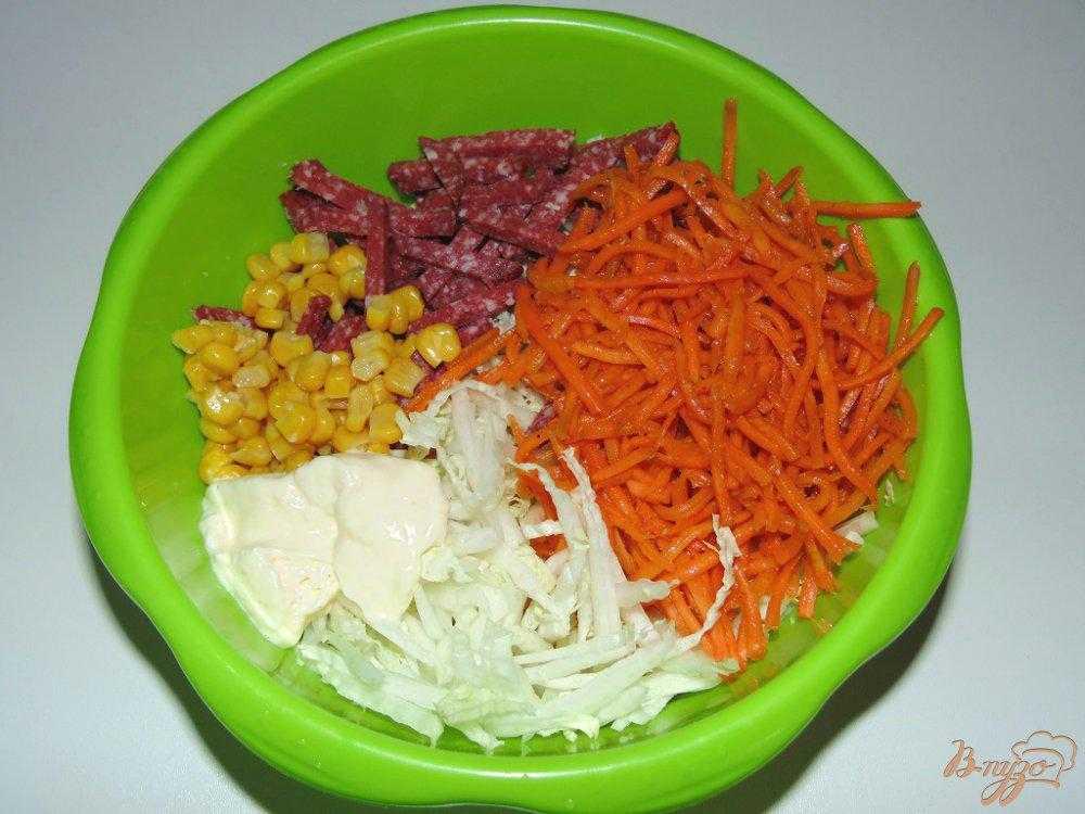 Салат с корейской морковью и ветчиной