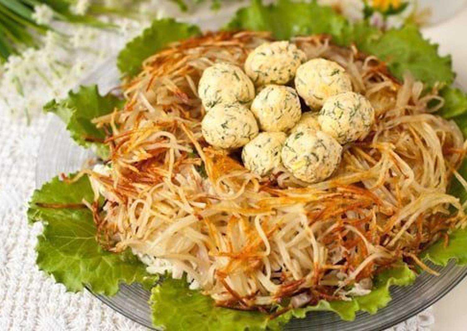 Салат гнездо глухаря: классический рецепт с фото пошагово