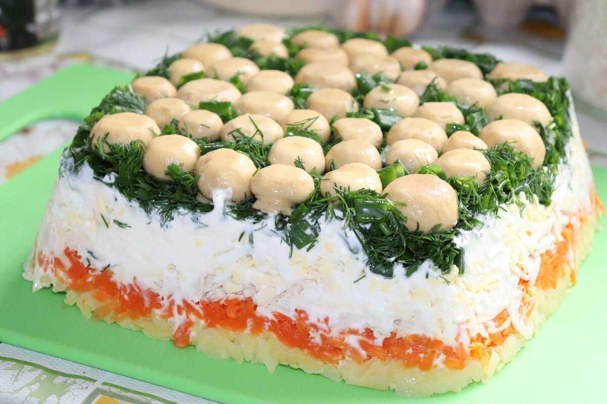 Салат грибная поляна с шампиньонами - рецепт с фото