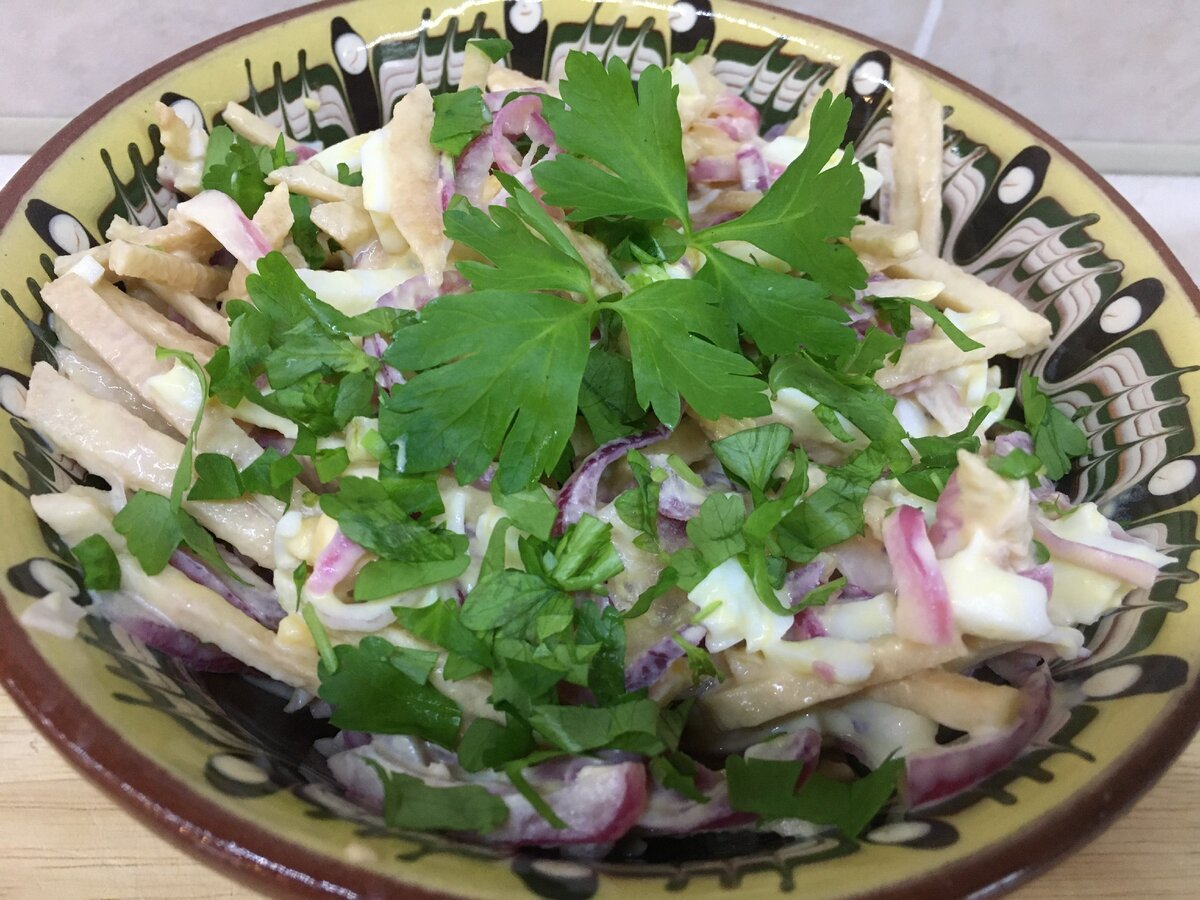 Рецепт салата «купеческий» с грибами и курицей