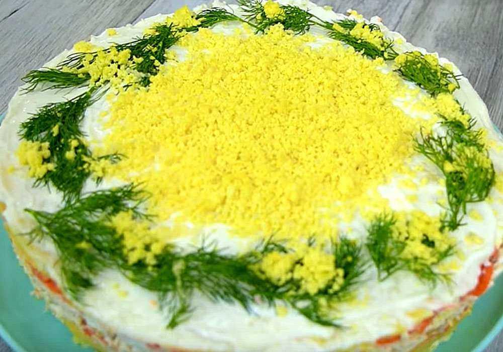 Cалат мимоза с рисом и лососем на новый год