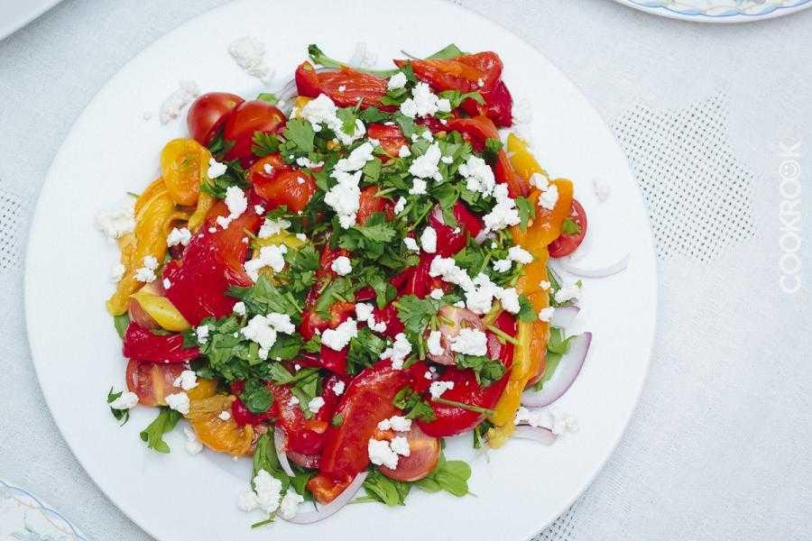 Рецепты салат из помидор с брынзой
