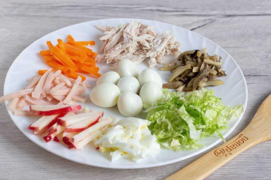 Салат гнездо глухаря с курицей классический простой рецепт с фото фоторецепт.ru
