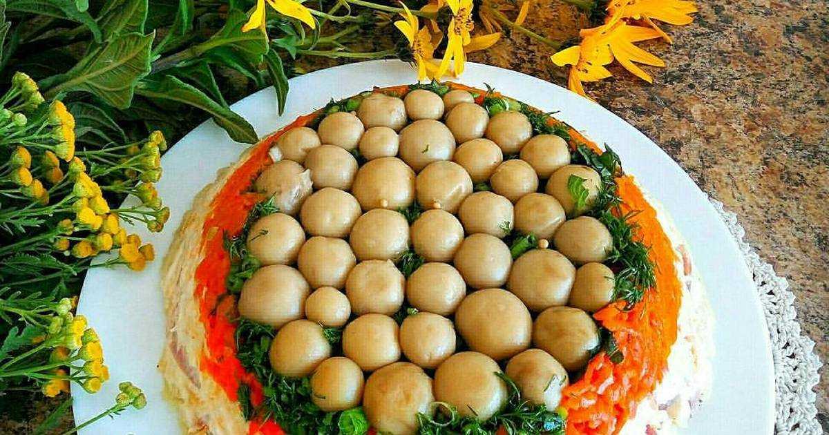Салат полянка - секреты приготовления: рецепт с фото и видео
