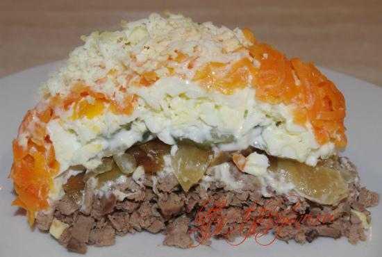 Салат с куриной печенью. пошаговые рецепты слоями
