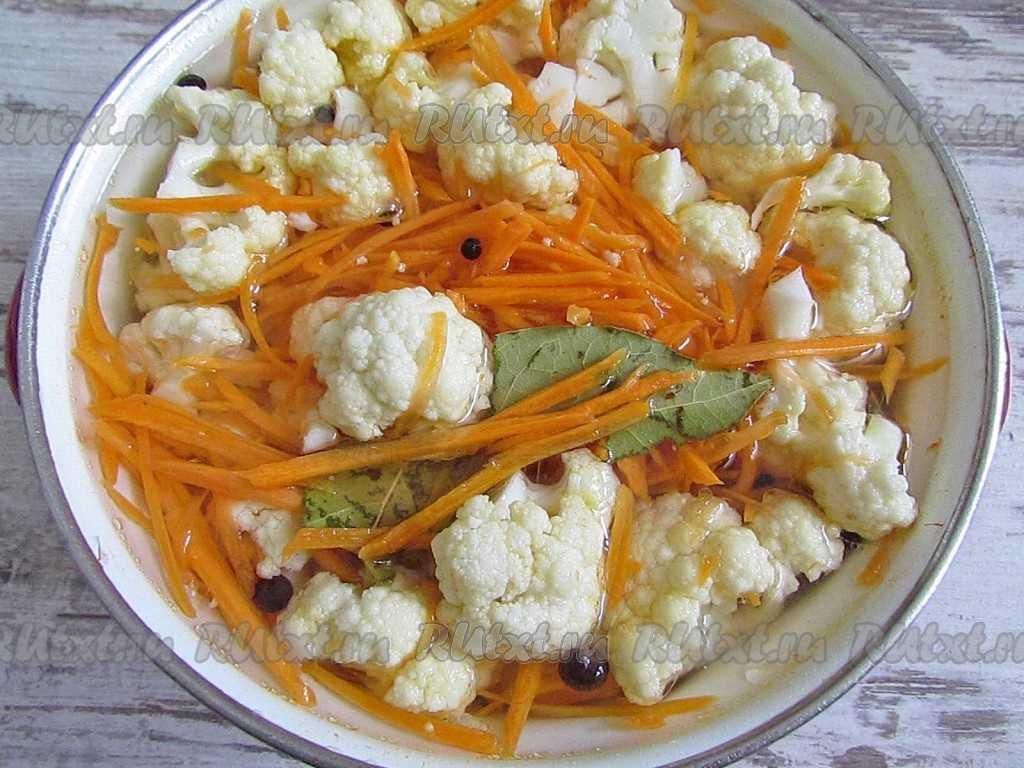 Маринованная цветная капуста: рецепты с фото пошагово