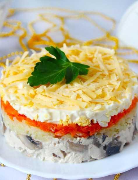 Салат с курицей и грибами жареными - плюс секреты: рецепт с фото и видео