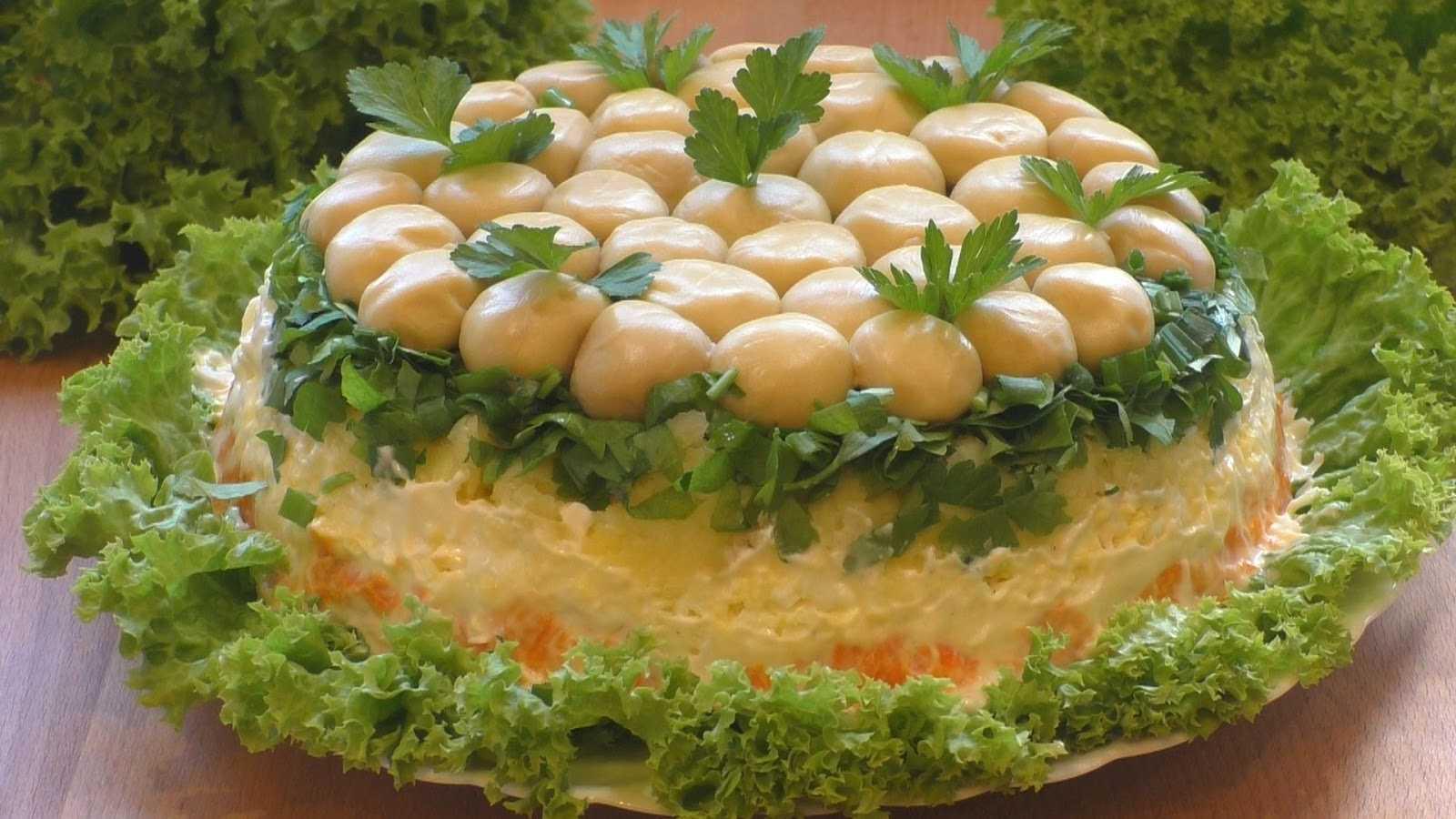 Рецепты салата лесная поляна с шампиньонами или опятами: пошаговое приготовление с фото и видео