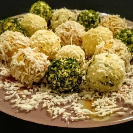 """Салатные шарики с печенью трески. рецепт: закуска """"шарики"""""""