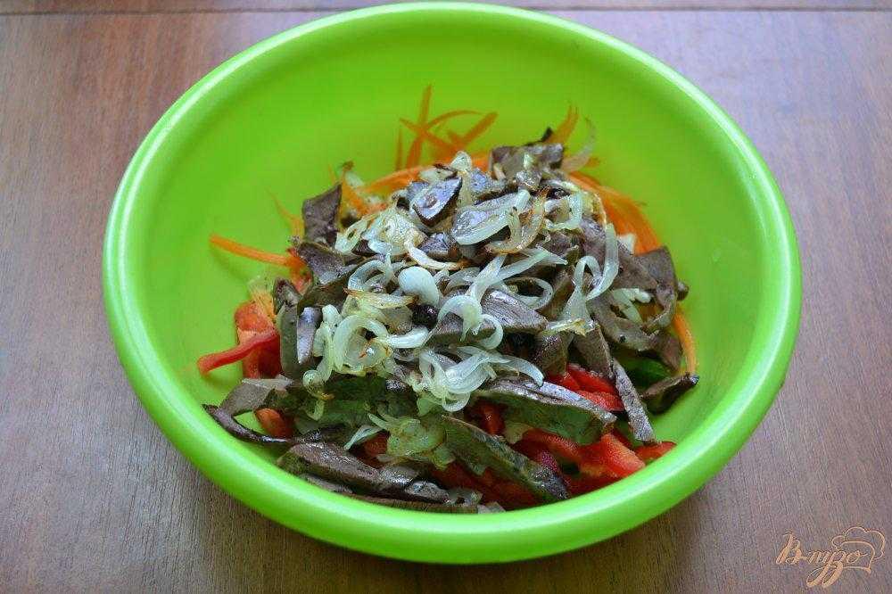 Салат из куриных сердечек - пошаговые рецепты с фото