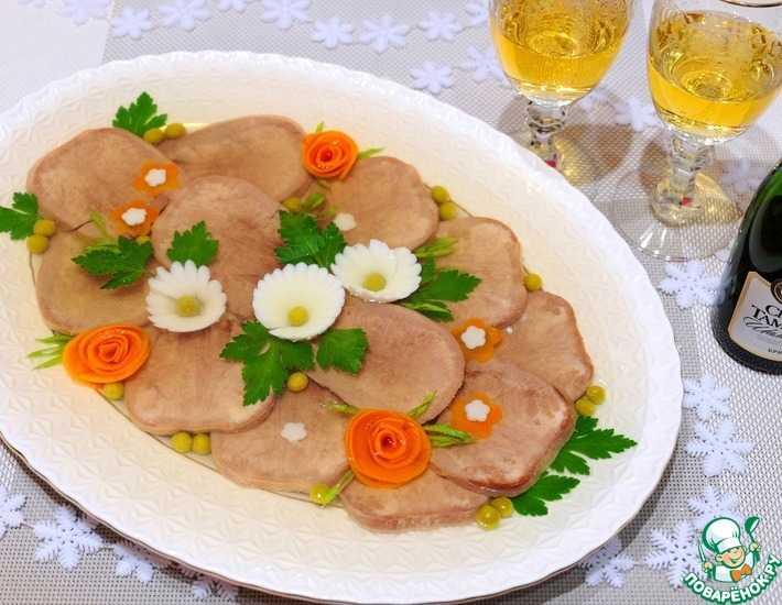 Заливное из свиного языка - как готовить пошагово и красиво украсить с видео
