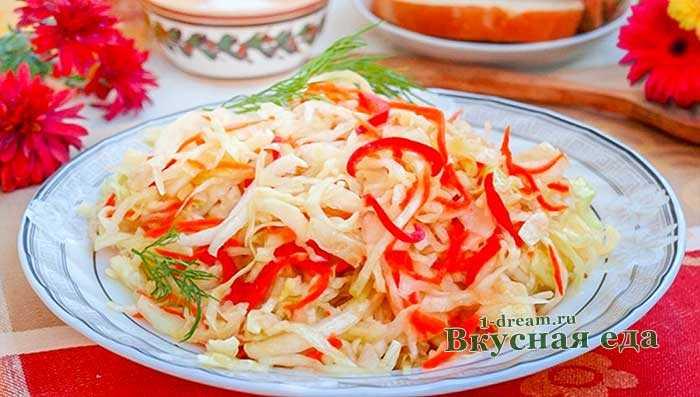 Капуста салатная быстрого приготовления с болгарским перцем