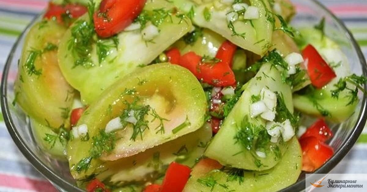 Вкусные зеленые помидоры дольками по-корейски на зиму пошагово с фото