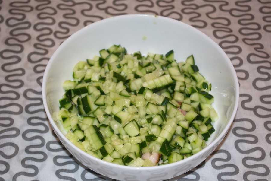 Салат из шампиньонов и свежих огурцов - 7 пошаговых фото в рецепте