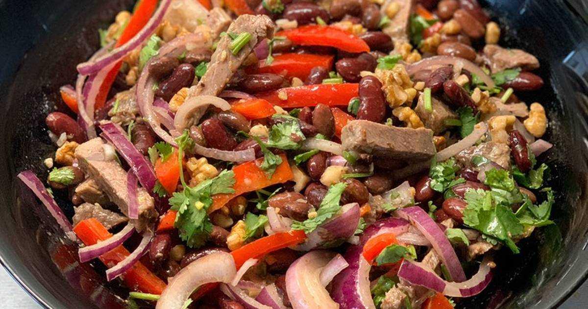 """Салат """"тбилиси"""": с красной фасолью и говядиной"""