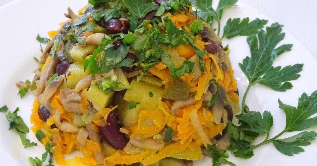 Постные салаты с грибами: пошаговые рецепты