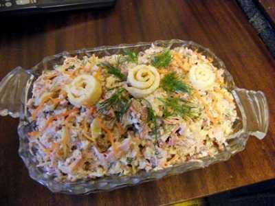 Салат «кояш» с корейской морковкой