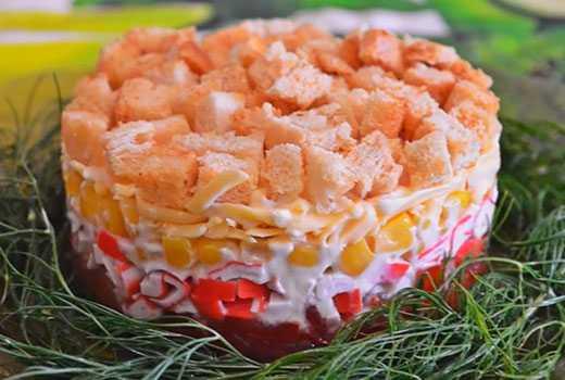 Салат с кириешками кукурузой и фасолью рецепт с фото пошагово - 1000.menu