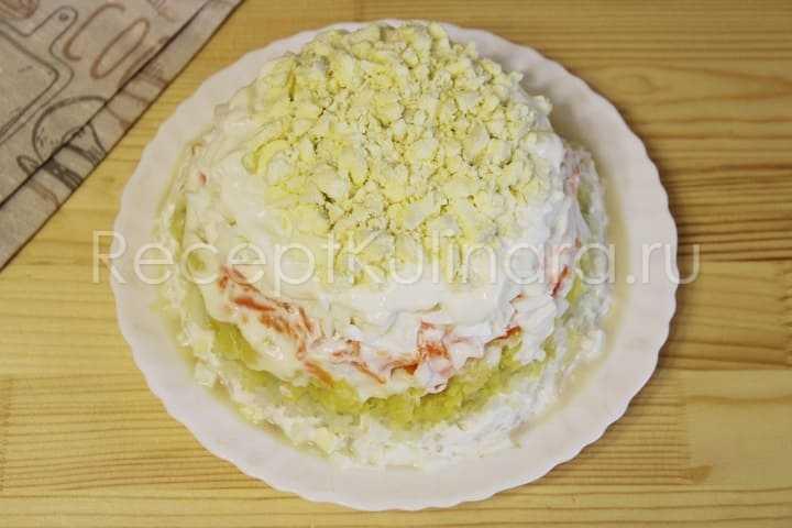 Салат мимоза классический с горбушей, сардиной, рисом: рецепт с фото