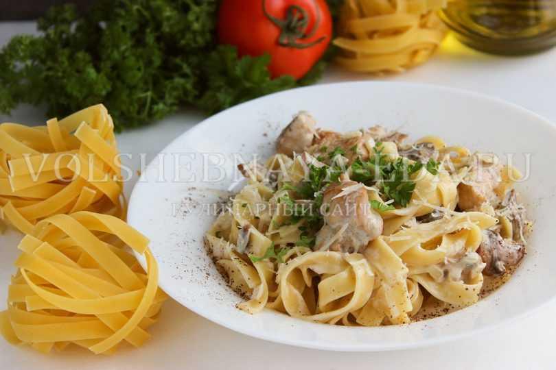 Фетучини с белыми грибами: секреты приготовления итальянской пасты. Рецепты с курицей, беконом, кремом и в сливочном соусе. Калорийность и польза продуктов.