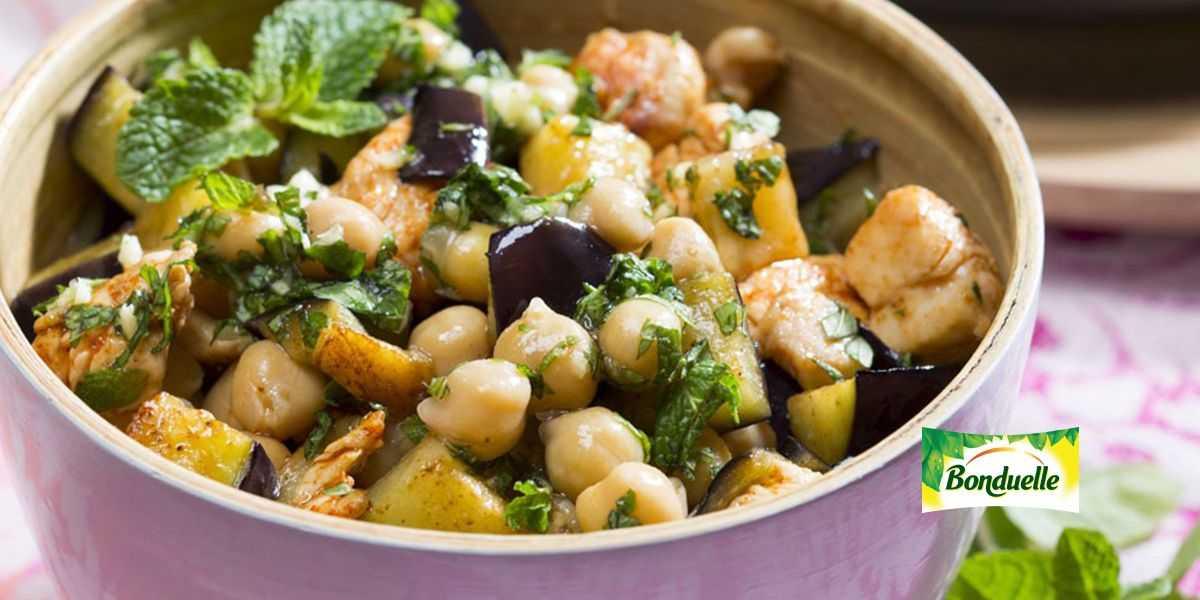 Салат с баклажанами и нутом пошаговый рецепт