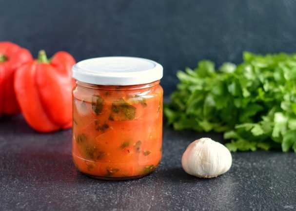 Закуска из болгарского перца с помидорами и чесноком на зиму рецепт с фото пошагово и видео - 1000.menu