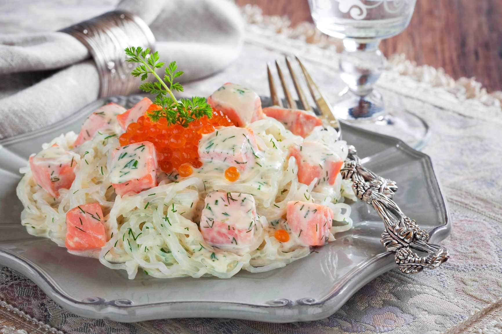 Салат с лососем — рецепты из соленой, копченой, консервированной красной рыбы