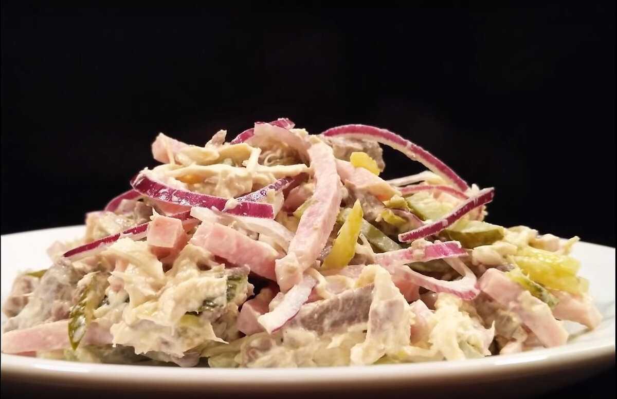 Салат дамский каприз из свиного языка с ветчиной рецепт с фото - 1000.menu