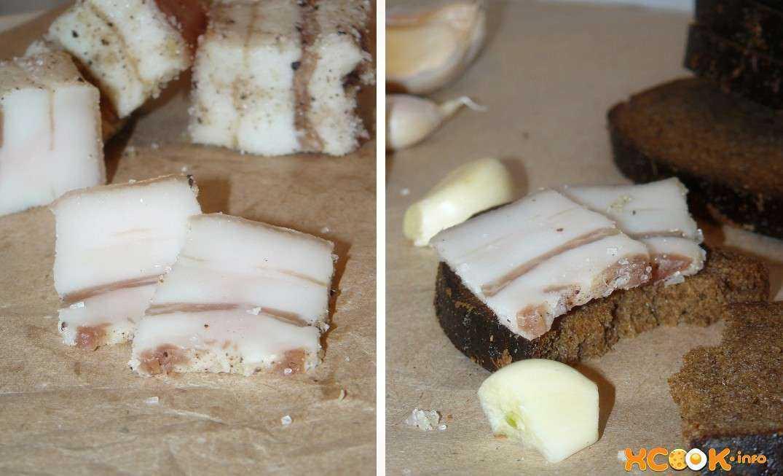 Закуска из сала с чесноком: рецепт с фото