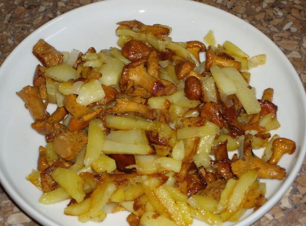 Лисички с мясом и картошкой