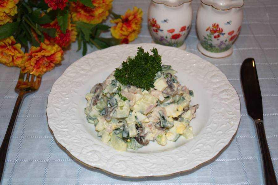 Салат с консервированными шампиньонами— самые простые и вкусные рецепты
