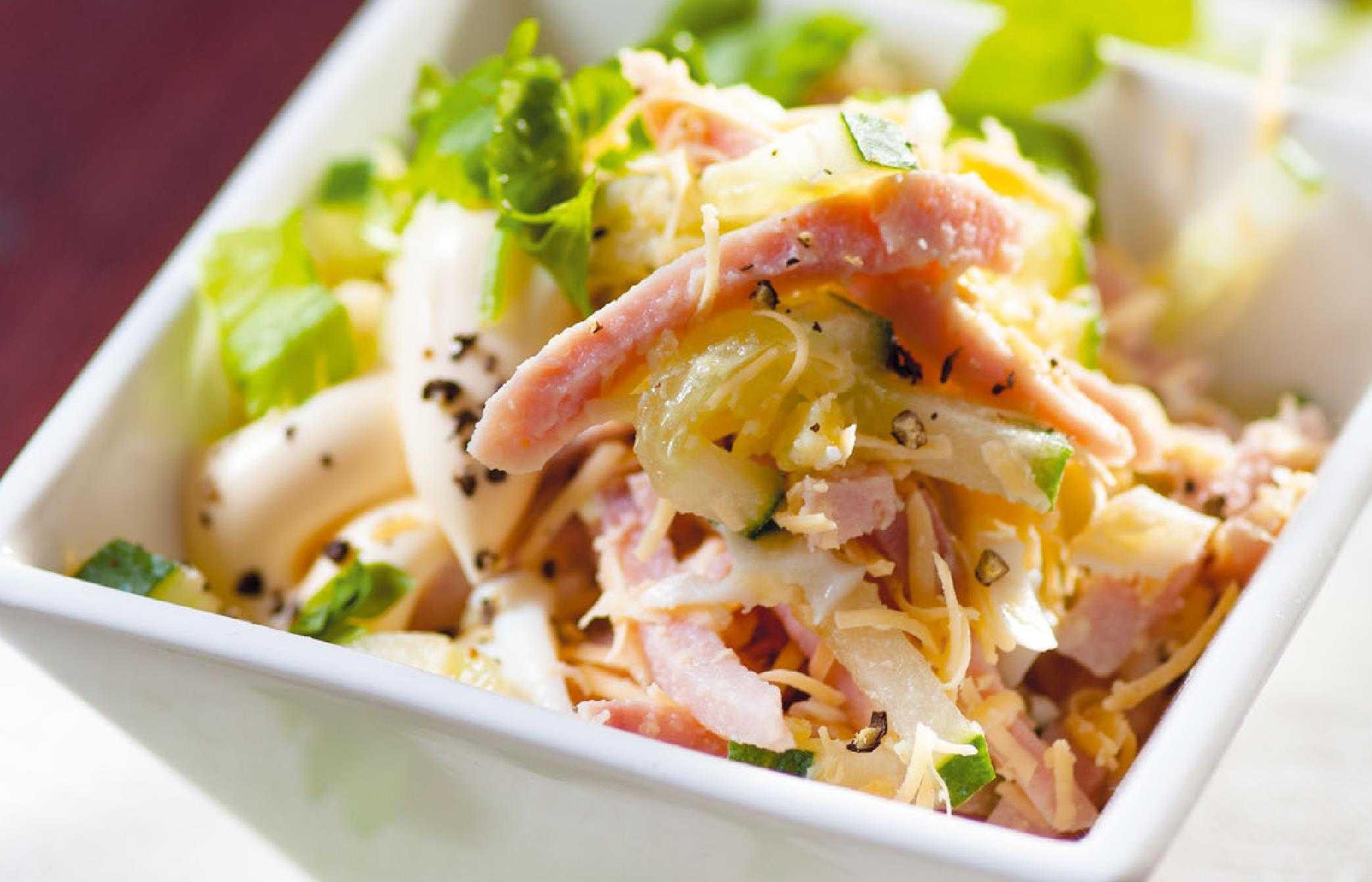 Рецепт: салат с языком и ветчиной