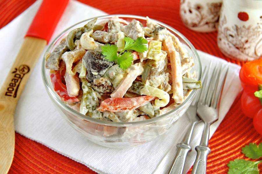 Салат с говядиной перцем и огурцом рецепт с фото пошагово - 1000.menu