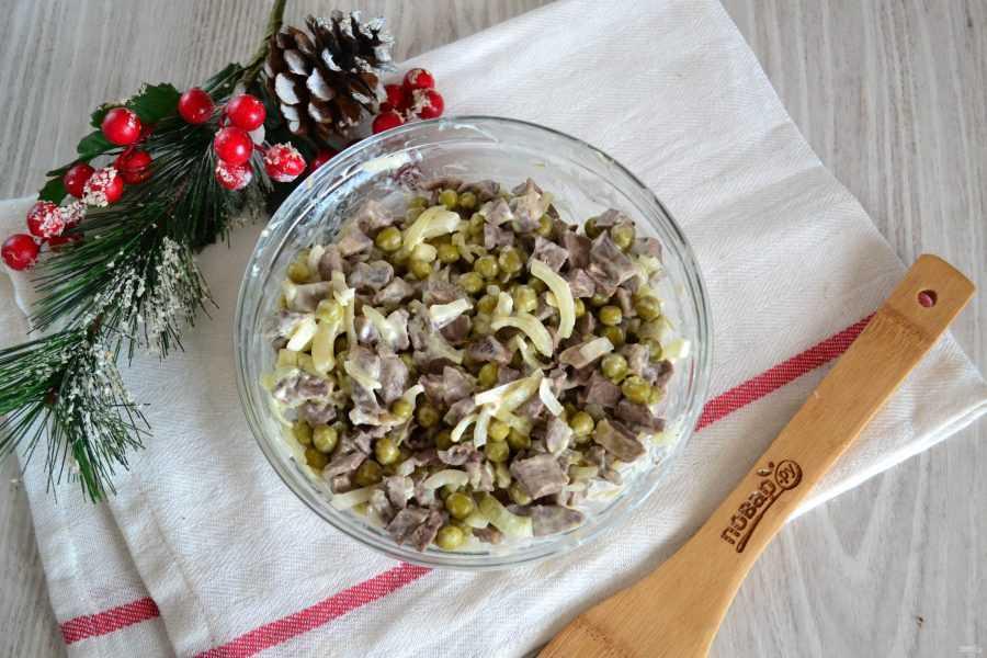 Салат из свиного сердца с маринованным луком - 10 пошаговых фото в рецепте
