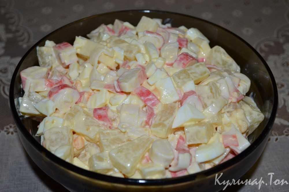 Салат с ананасами и крабовыми палочками, рецепты приготовления