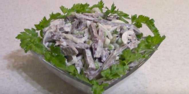 Салат с сердцем и солеными огурцами