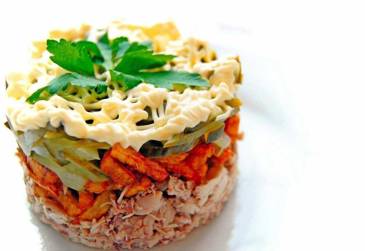Салат с курицей и грибами классический рецепт с фото - 1000.menu