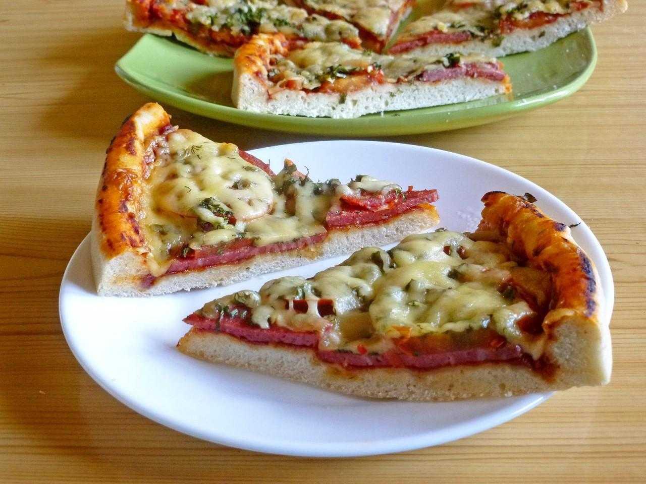 Пицца с шампиньонами, колбасой и сыром в духовке — wowcook.net