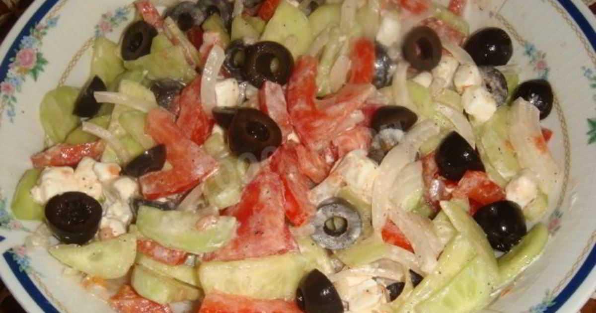 Салат греческий с фетаксой классический рецепт с фото пошагово и видео - 1000.menu