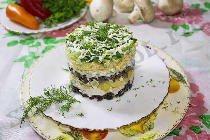 Салаты из шампиньонов: рецепты с фото, простые и вкусные