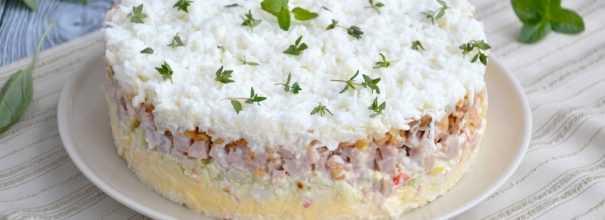 Салат снежная королева - 7 рецептов с ветчиной, крабовыми палочками