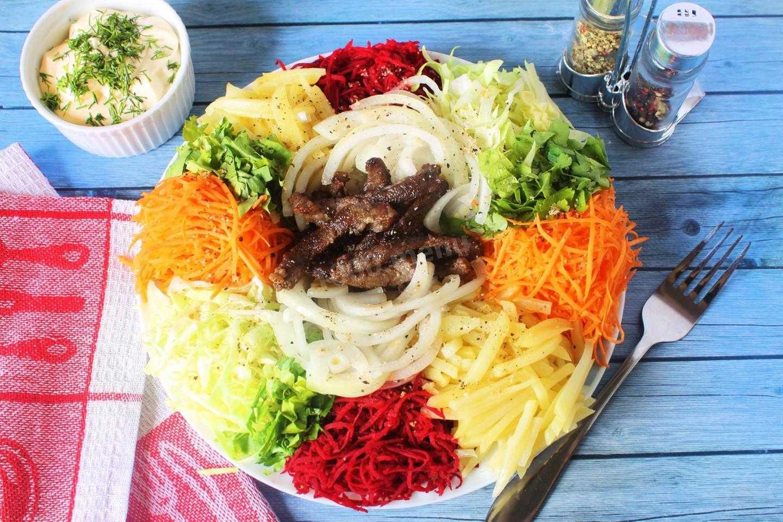 Рецепт салата Чафан с говядиной, свининой, птицей и разнообразными овощами. Советы по приготовлению и выбору продуктов. Варианты украшения блюда.
