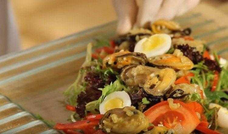 Салат с мидиями без яиц